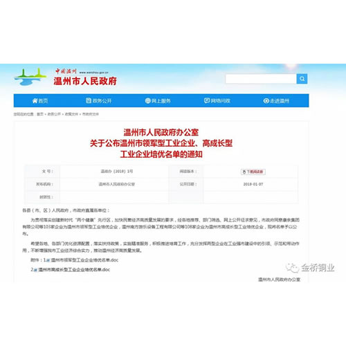 "Congratulations to Bridgold for winning the ""High-growth Industrial Training Enterprise (Wen Zhou)"""